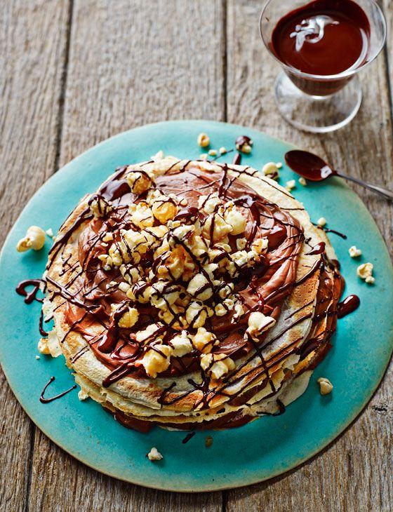 Chocolate popcorn pancake stack to share... http://www.sainsburysmagazine.co.uk/recipes/desserts/chocolate/item/chocolate-pancake-stack