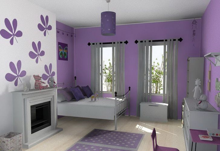 stylish teen girls room furniture sets with purple color schemes and study table design ideas modern