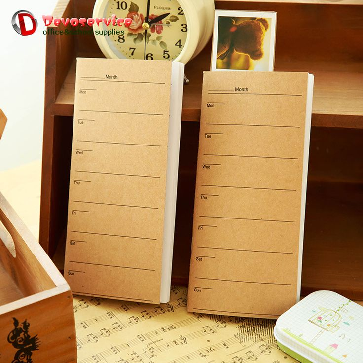 A6 Vintage Kraft Weekly Planner Notebook Long Rectangle Diary Paper Book 24 Sheets Mini Schedule Cute Korean Stationery Papers