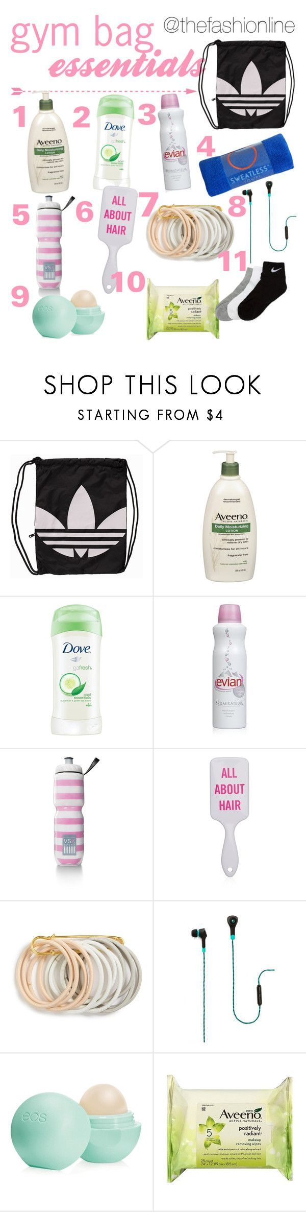 """""""What's In My Gym Bag"""" by thefashionline ❤ liked on Polyvore featuring adidas Originals, Aveeno, Dove, Victoria's Secret, Odeme, Merkury Innovations, Eos and NIKE - Tap the pin if you love super heroes too! Cause guess what? you will LOVE these super hero fitness shirts!"""