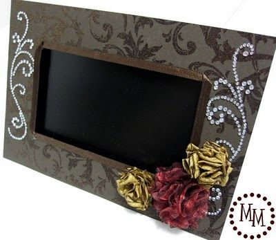 Easy makeover tip for the boring black frames for those digital photo frames. Use scrapbook paper of your choice & attach with a product called 'glue lines'. Then embellish with other items to fit the theme of the room. Why didn't I think of this? What a great way to further personalize this as a gift.