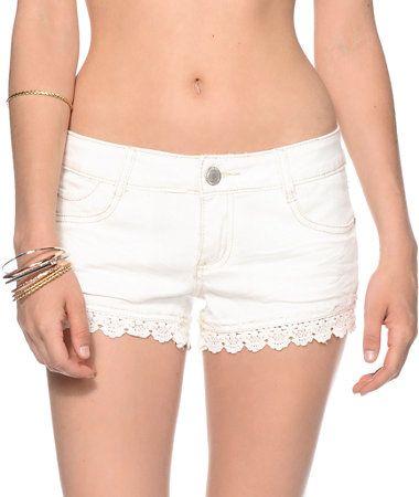 Almost Famous Olivia Lace Hem Shorts
