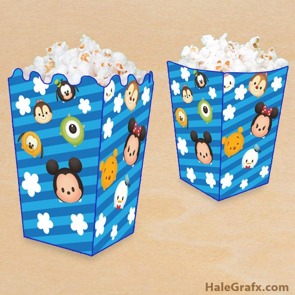 free printable disney tsum tsum popcorn box disney tsum tsum rh pinterest com