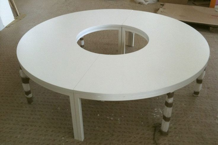 Arch  Round Table can be rearranged to new configurations dependent on children-half circles can be separated or joined in various designs.
