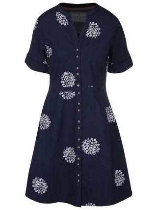 Brakeburn - Tmavě modré košilové šaty  Polka - 1
