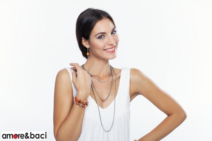 Amore & Baci 2013 campaign - ORANGE beads - necklaces, bracelets, earrings