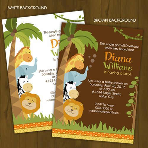 best baby shower invites images on   jungle baby, Baby shower invitation