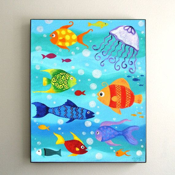Childrens Wall Art 8x10 Print Happy Fish Under Sea