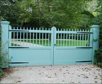 Cellular PVC Board and Topper Gate | Entrance Gates, Wood Gates, and more from Walpole Woodworkers