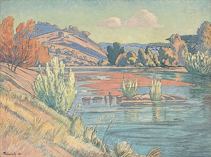 Artist: Jacob Hendrik Pierneef;Title: Landscape with River, 1938; Medium: Oil on Canvas.