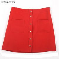 2016 Women Fashion Solid Skirts Womens Button Decorate Red Black White Mid Waist Skirt Hight Quality Elastic Lady Skirts