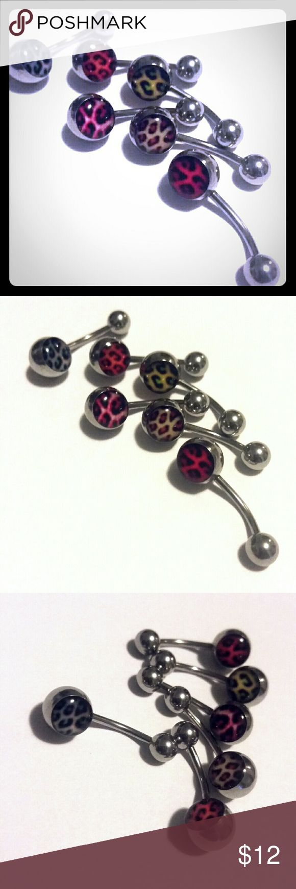 Bundle 6 Pc Leopard Belly Button Rings Rainbow Bundle of six leopard print belly button rings / curved barbells in all different colors as pictured. Never used. Jewelry