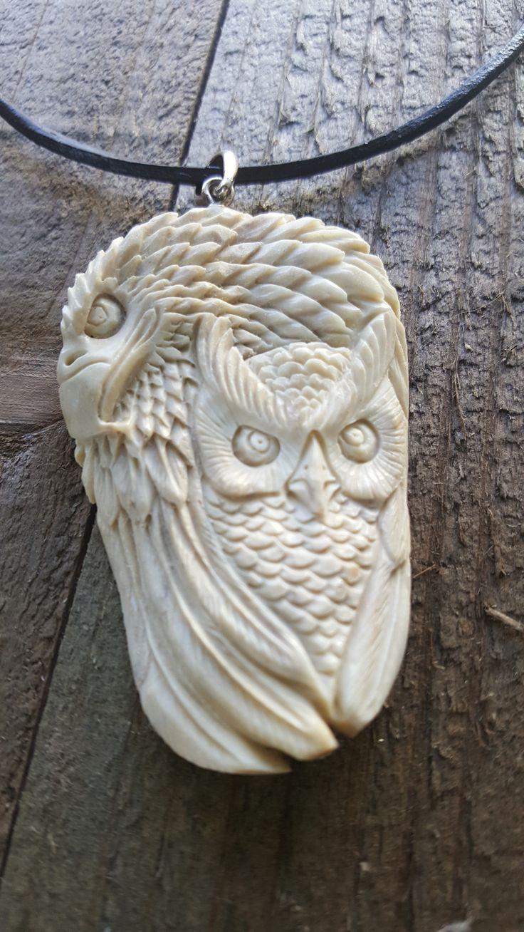 Real Deer Antler Carved Eagle Owl Pendant Necklace