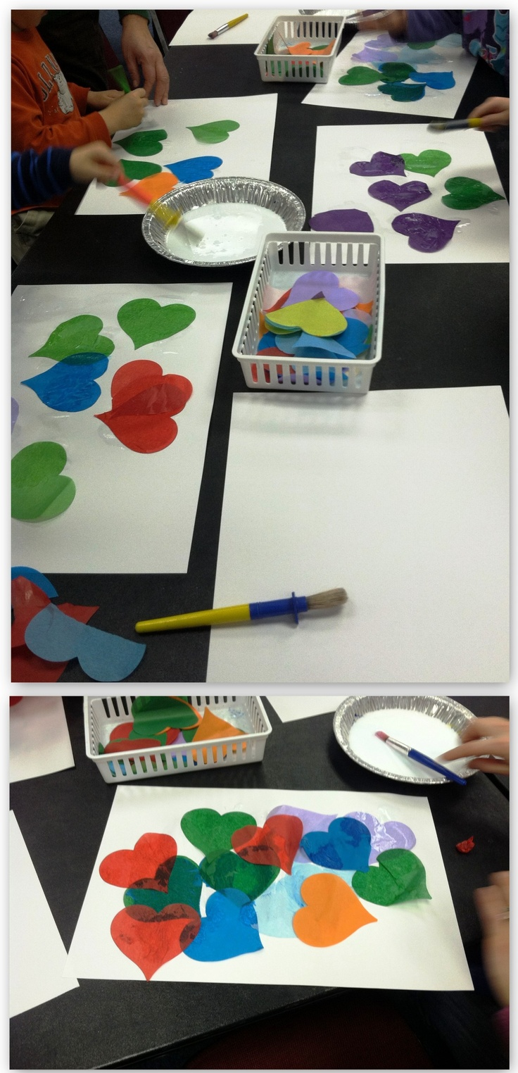 #craft #preschool | Tissue Paper Shapes. (Do different shapes for different themes.)