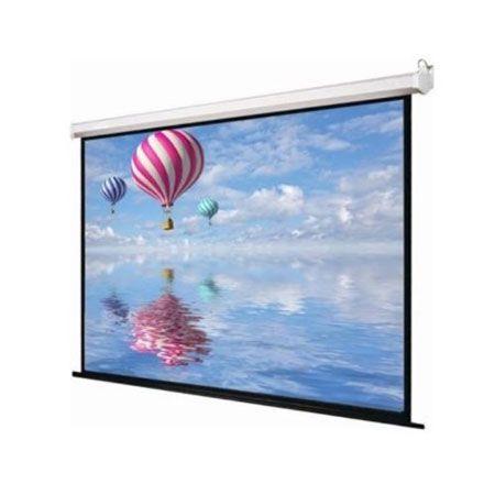 Motorized projector Screen Top Black drop 30.48 cm Border >> Type: - projector Screen, Size: - 10 Ft. x 6 Ft., Screen Type: - Wall Type Projector Screens, Display: - LED, Auto Lock: - No, No Connectivity >>