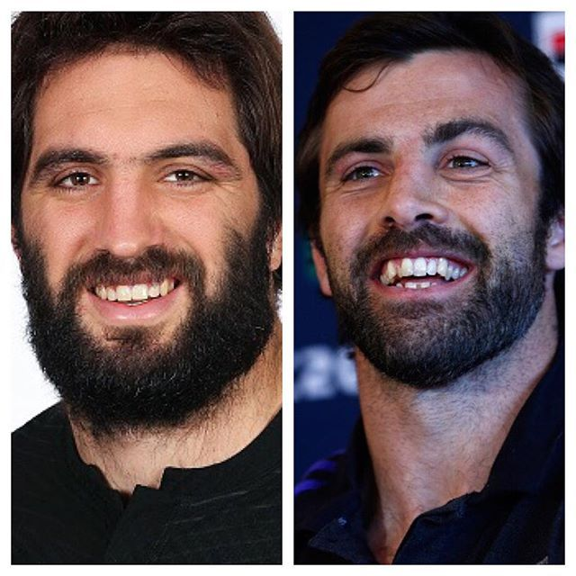 BIRTHDAY BROTHERS: Happy Birthday to these two Sam Whitelock and Conrad Smith! Who do you think is winning the birthday beard competition? #RWC2015 #TeamAllBlacks