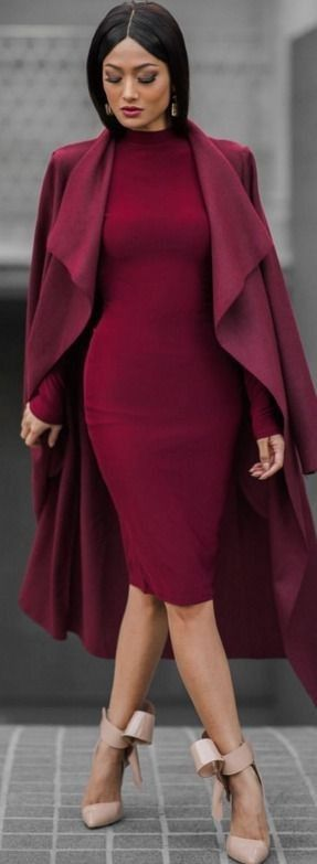 Burgundy Dress Outfit, Maroon Dress, Womens Fashion Outfits, Fall Outfits,  Fashion Trends, Fashion Bloggers, Micah Gianneli, Pencil Dresses, Pencil  Dress