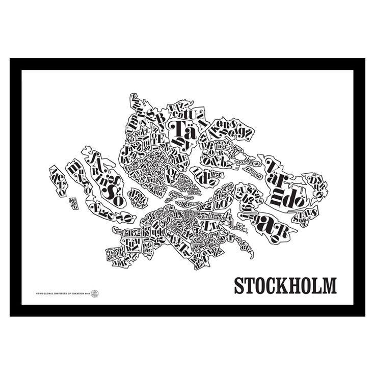 Stockholmskarta poster från The Global Institute of Creation. En snygg poster som visar upp Sto...