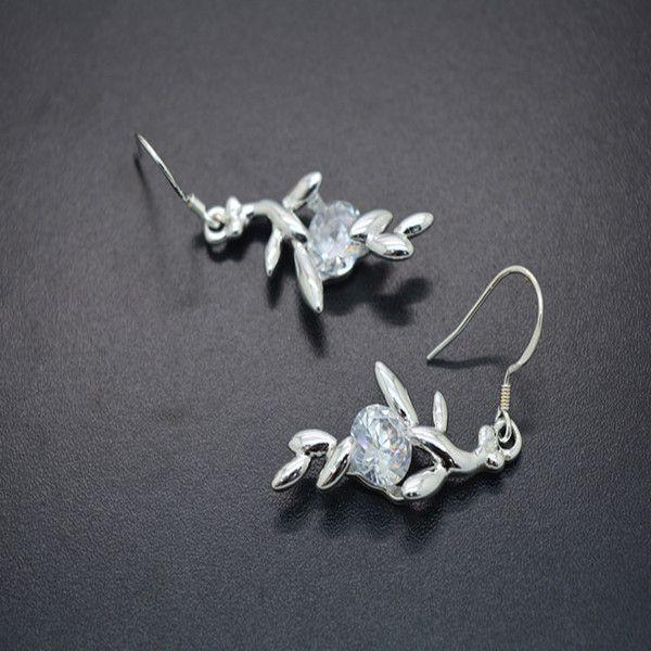 Elegant Strass Ohrringe Ohrhänger Silber #Zirkonia #Ohrringe #Ohrhänger #schmuck