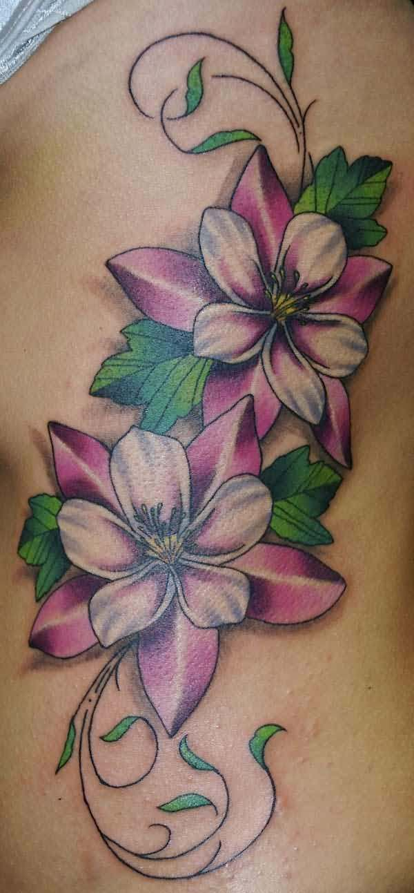 Vine Flower Tattoo On Rib