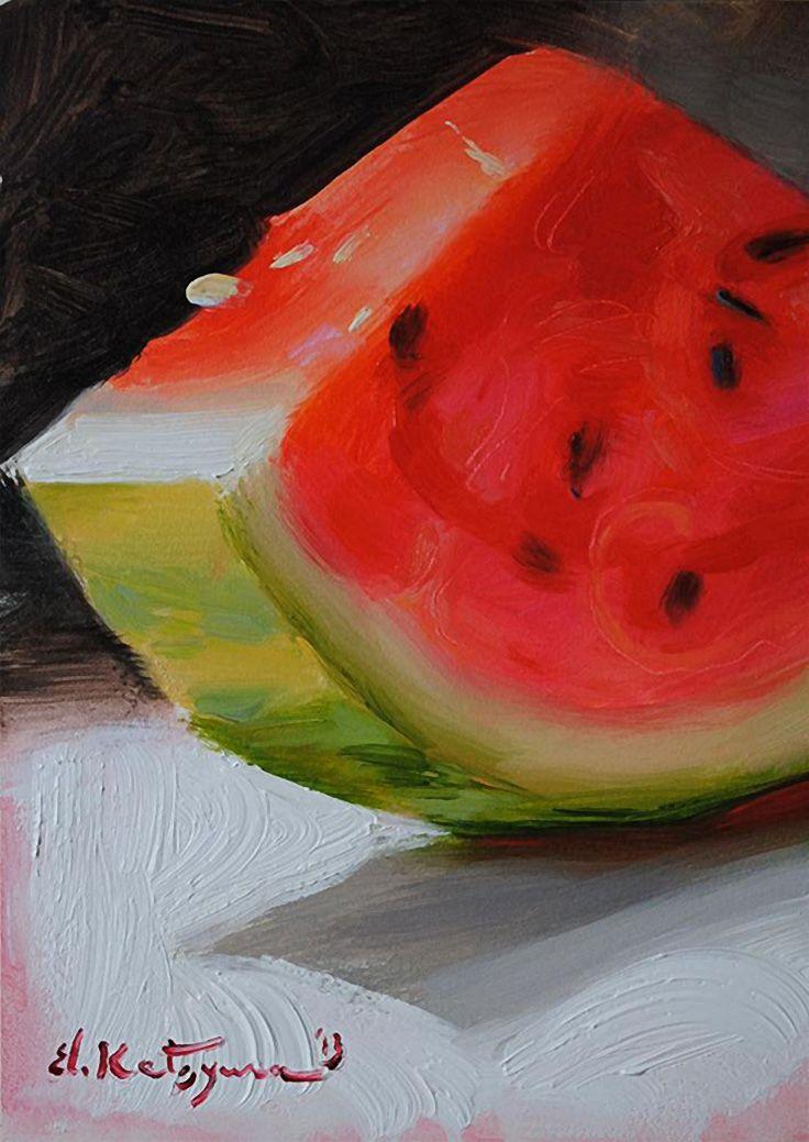 """Watermelon"" - Elena Katsyura, oil on gesso board {contemporary artist food still life painting}"