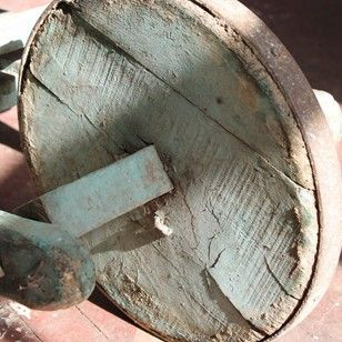 An entirely original  unusual configuration wooden barrow in the original powder blue paint.   Being a combination of a sack trolley and a wheel…