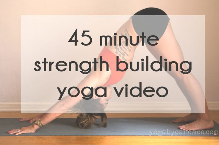 Pin now, practice later! Full 45 minute FREE strength building yoga video. Wearing: Lululemon shorts, athleta bra (similar on sale).