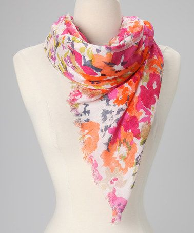 Take a look at this Orange Floral Scarf by In Things on #zulily today!