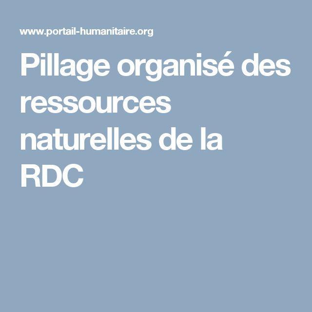 Pillage organisé des ressources naturelles de la RDC