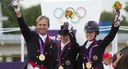 Horse riders Carl Hester, Laura Bechtolsheimer and Charlotte Dujardin.