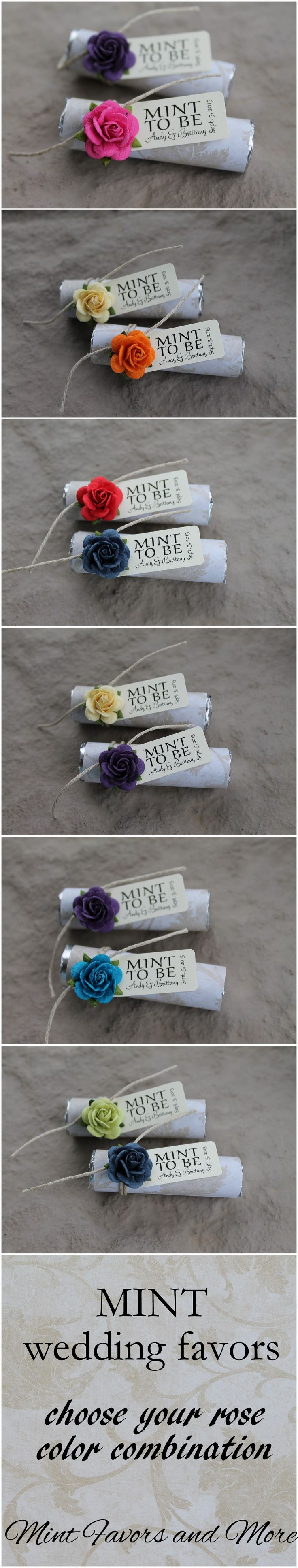 Wedding favors with a personalized tag, custom designed to match your wedding. Many colors to choose from at www.mintfavorsandmore.etsy.com.