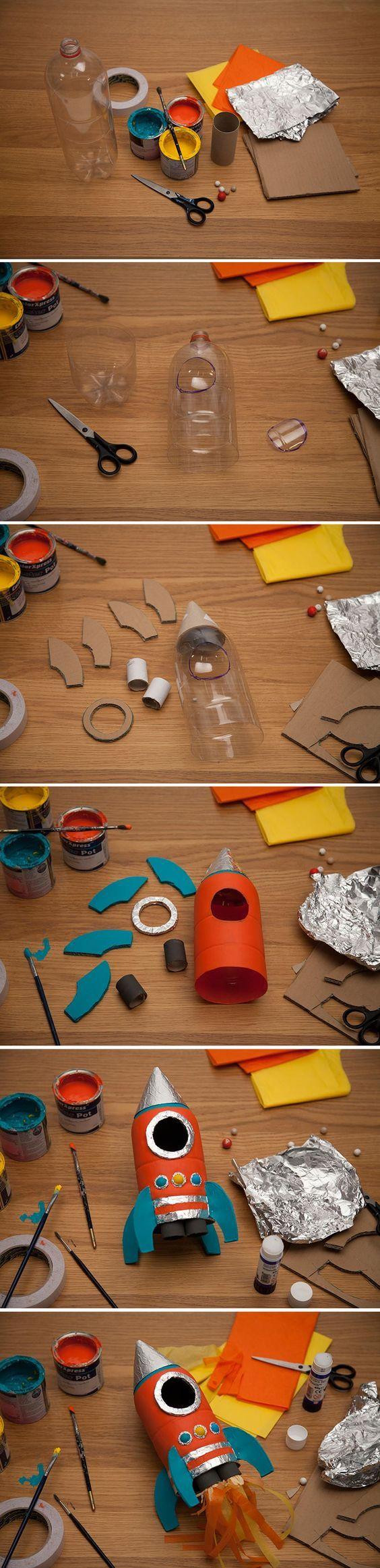 Nave espacio con materiais reciclables
