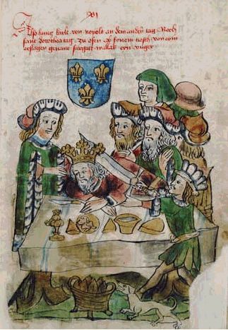 """Charles III.Neapol Durazzo-Anjou murdered by Elizabeth of Bosnia, widow of Louis I.""""Great""""Anjou Hungary and mother of Mary, arranged to have Charles assassinated on 7 February 1386. He died of wounds at Visegrád on 24 February.Charles the Short or Durazzo (1345 – 24 February 1386) was King of Naples and titular King of Jerusalem from 1382-86 as Charles III, and King of Hungary from 1385-86 as Charles II. In 1382 he created the order of Argonauts of Saint Nicholas."""