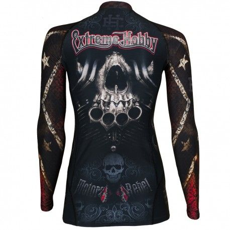 Longsleeve rashguard women MOTO REBEL. Color: black. Excellent quality rashguard HOBBY EXTREME is ideal for hard training people who appreciate the highest class of products. Made of high quality material, which, thanks to its flexibility, clings to the body. Sophisticated thermoregulation system by which the body is dry and the muscles warmed up. Sublimated logos (will not scratch).