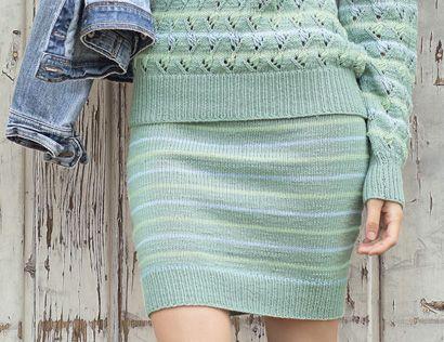 Схема и описание вязания на спицах юбки в полоску из журнала «Сабрина» №2/2016