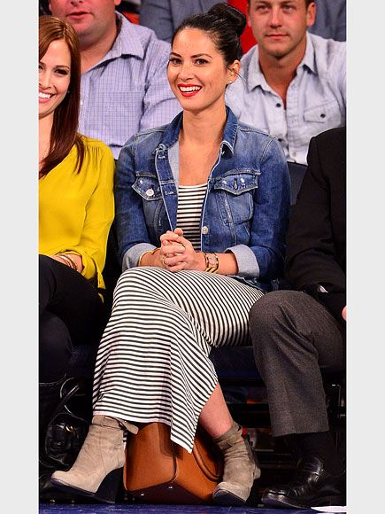 Love Her Outfit! | OLIVIA MUNN  | . The Newsroom star effortlessly transitions her striped Tees by Tina dress to fall via a denim 3x1 jacket and ankle boots. All things you own.