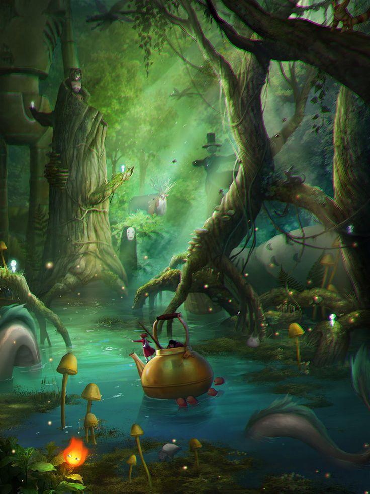 """Basée sur la fin du film """"Arrietty, le petit monde des chapardeurs"""" (The Secret World of Arrietty) > https://www.youtube.com/watch?v=RYwYgH9uA_8 - cette image est réalisée par Bianca Morelos (alias aerobicsalmon) comme un hommage aux films de Hayao Miyazaki et du Studio Ghibli. On y reconnait des personnages du """"Château ambulant"""", tels l'épouvantail """"Navet"""" et """"Calcifer"""" le démon du feu, ainsi que """"Sans-Visage"""" le personnage masqué du 'Voyage de Chihiro"""" et le Dieu-Cerf de """"Princesse…"""