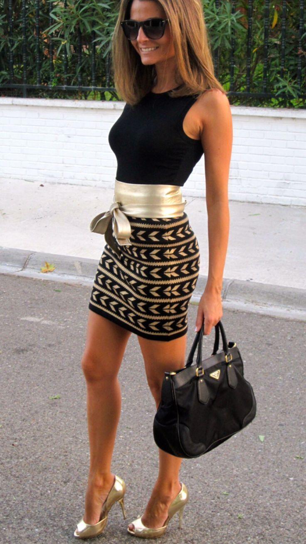 Sexy Golden Belt Spliced Geometric Printed Bodycon Dress For Women