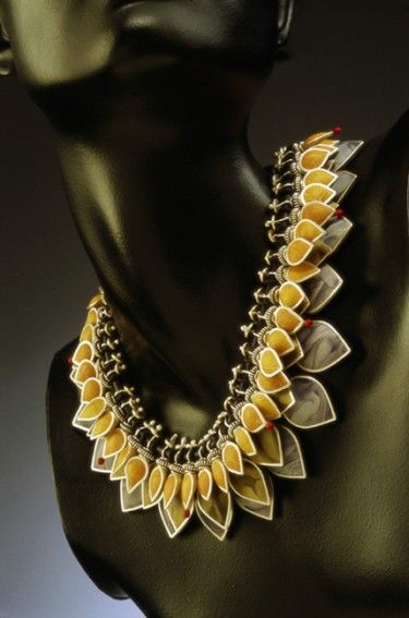 Necklace | Judy Kuskin.  'Rainforest Tears'.   Polymer clay, silver