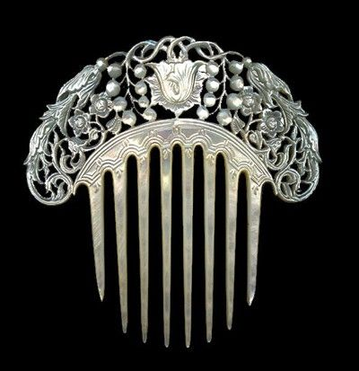 """An art nouveau or art deco hair comb can be all the """"theme"""" you will need to doll up a simple outfit!"""