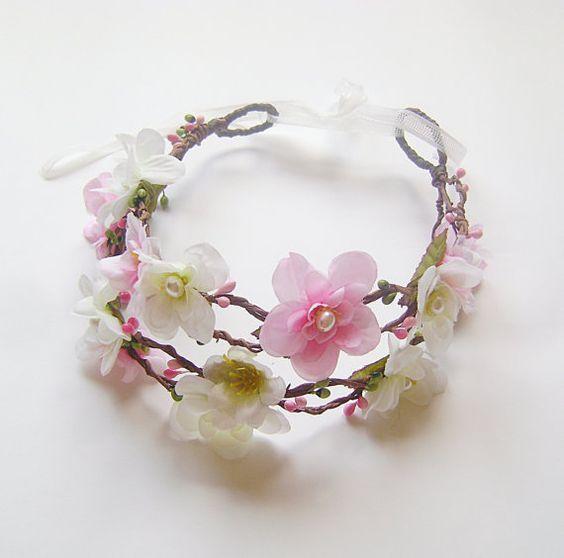 Flower Crown, White Pink Blossom Flowers Wedding Double Crown, Woodland Fairy Flower, Bridal Tiara, flower hair wreath, bridal headpiece