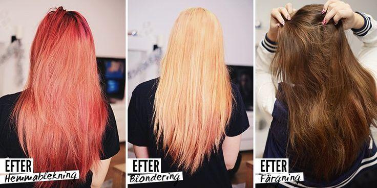 Från rött hår till ljusbrun/blond ombre: Så gjorde jag!