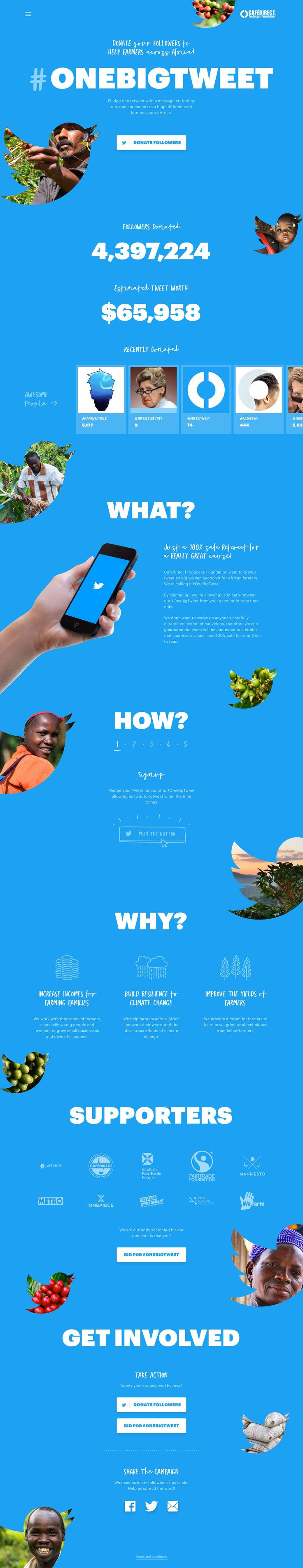 Parallax scrolling One Pager with slick load transitions for non-profit campaign #OneBigTweet.
