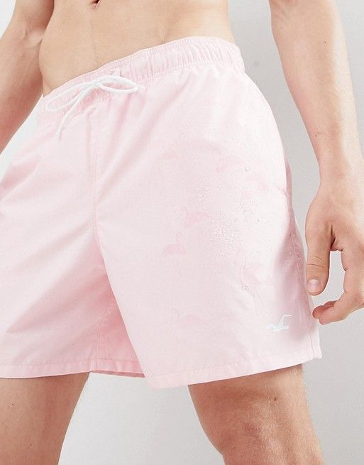acbe6fe33b Hollister | Hollister Magic Print Guard Swim Shorts Flamingos Come Out When  Wet in Pink