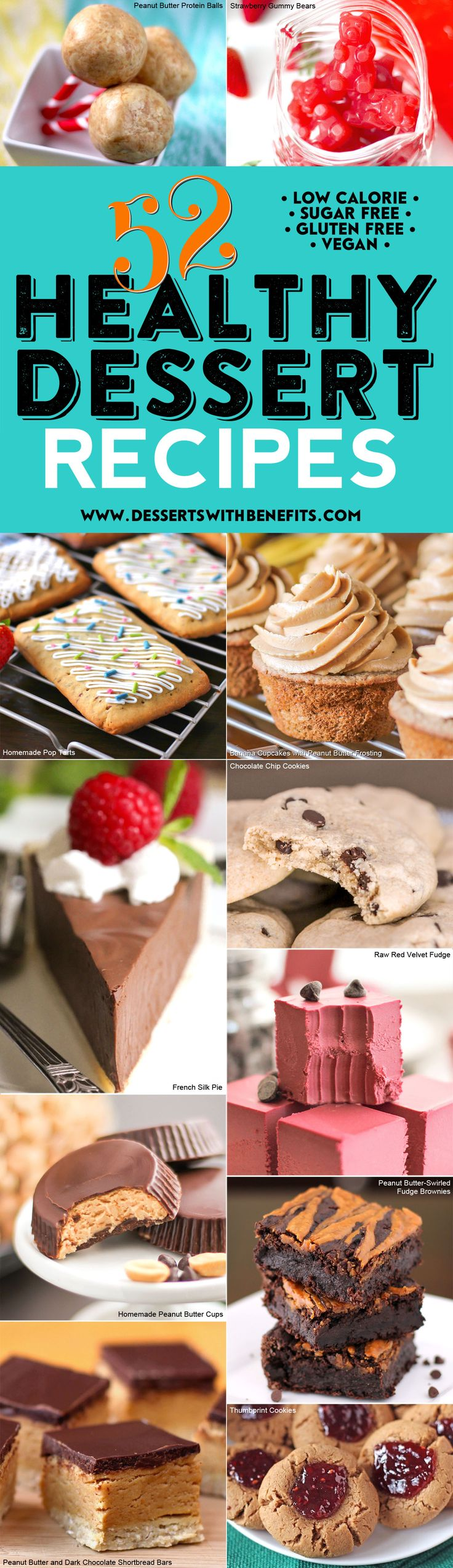 Your sweet tooth doesn't have to stand in the way of eating healthy! Trying to eat healthier for 2017 but don't want to deprive your sweet tooth? You'll enjoy this list of the BEST, MOST POPULAR, HEALTHIEST dessert recipes from the Desserts With Benefits Blog. We've got all natural, refined sugar free, low carb, low fat, high protein, high fiber, gluten free, dairy free, and vegan recipes to keep you healthy, happy, and sane (not hangry) all year long!