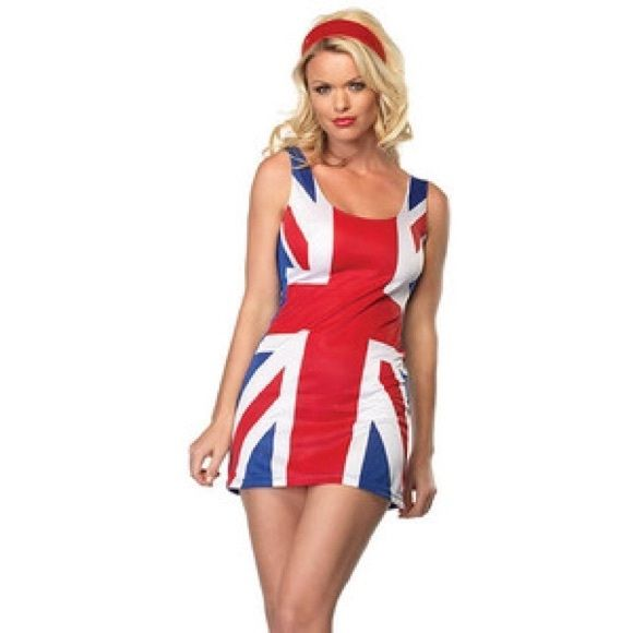 Sexy British Flag Dress Halloween Costume Sexy British Flag Dress Halloween Costume. Can be used as a Spice Girl Ginger Spice Halloween Costume! Only worn once, no flaws. Union Jack! Leg Avenue Dresses Mini
