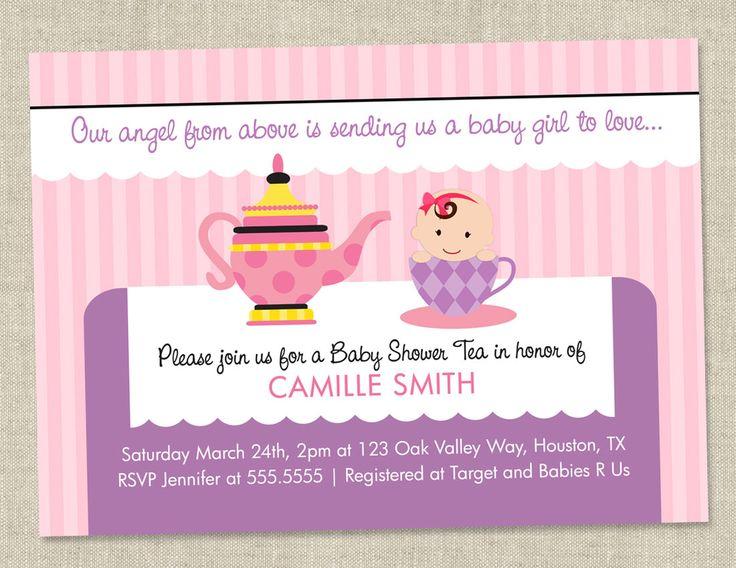 Tea Party Baby Shower Invitation   Tea Party Invite (DIY Printable Digital  File OR Printed