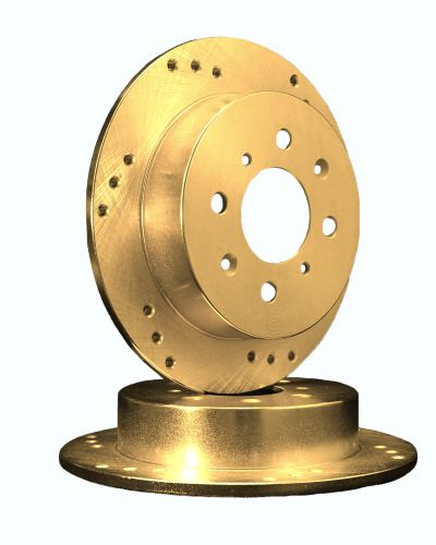 ATL Autosports Performance Brake Rotors Rear Pair Fits 2008 Kia Rio5 [ W/ Rear Disc ] ATL31422-10DOGZ, Gold