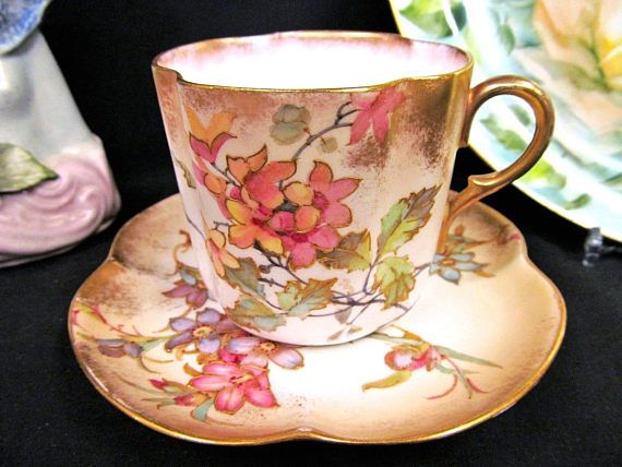Vintage Doulton Burslem tea cup and saucer raised gold painted floral teacup, circa 1930s - Fine china floral teacup tea cup