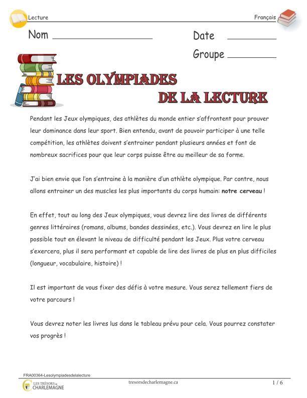 Ce petit projet à pour but de souligner les Jeux Olympiques avec la lecture. Avec leurs propres défis, les élèves devront lire plusieurs livres et faire une appréciation sous forme de discussion. Les enfants seront également amenés à réfléchir aux valeurs du groupe afin de créer un drapeau représentatif. De l'olympisme scolaire qui se termine par une belle collation santé, cuisinée et partagée en groupe !  2e cycle,3e année,3e cycle,4e année,5e année,6e année,appréciation,Caroline…